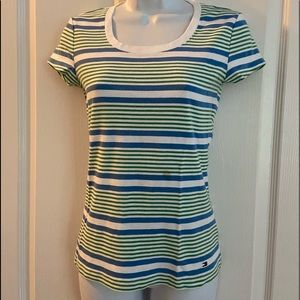 Tommy T-shirt blue and green striped